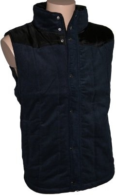 Tom Franks Mens Navy Padded Corduroy Funnel Neck Gilet & Contrast Panel XL