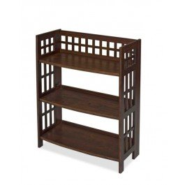 Libreria 3 ripiani richiudibile in legno color mogano scuro mod. Magica per studio o soggiorno