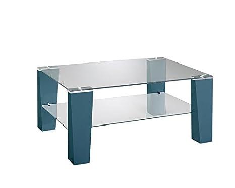 Presto mobilia 11081 Couchtisch, Wohnzimmertisch Benny 109, 105 x 65 x 43 cm, petrol Glas
