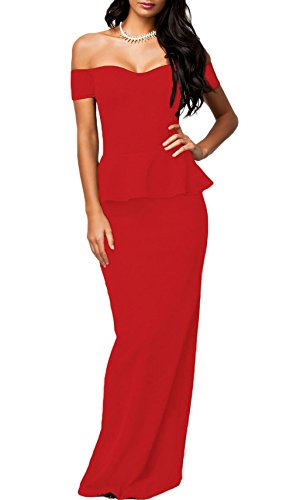 NuoReel Women's Drop shoulder Peplum Maxi Evening Dress (XX-Large, Red)