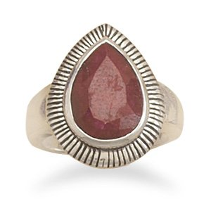 Sterling Silver Oxidized Rough-Cut Ruby Ring / Size 7