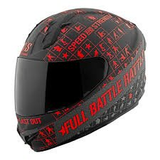 Speed and Strength Full Battle Rattle Men's SS1400 Sports Bike Motorcycle Helmet - Black/Charcoal/Red / Large
