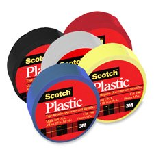 3M Commercial Office Supply Div. Products - Colored Plastic Tape, Moisture Resistant, 3/4