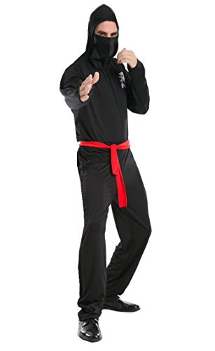 NonEcho Adult Costumes for Men Japanese Ninja Costume Party Idea Black