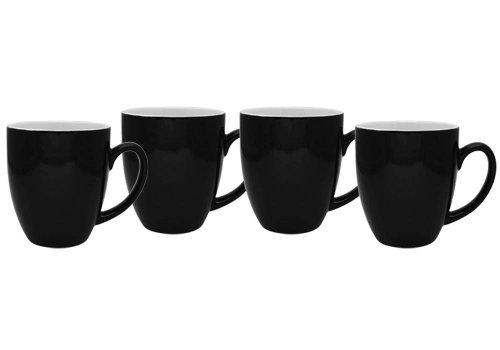 Culver 16-Ounce Bistro Ceramic Mug, Black, Set of 4 (Black White Coffee Mug compare prices)