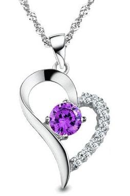 "Rhodium Plated 925 Sterling Silver Amethyst Diamond Accent Heart Pendant Necklace 18""-SN3254"