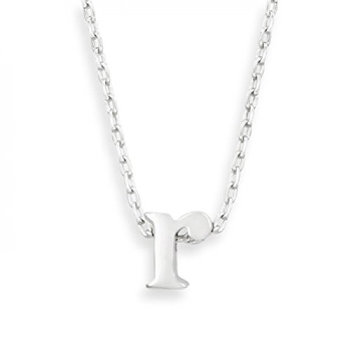 16 Inch + 2 Inch Rhodium Plated Brass Initial Inchr Inch Necklace