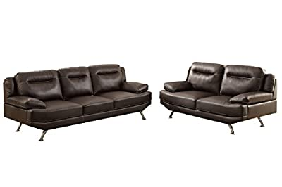 Poundex F7927 Bobkona Danville Bonded Leather 2 Piece Sofa and Loveseat Set, Espresso