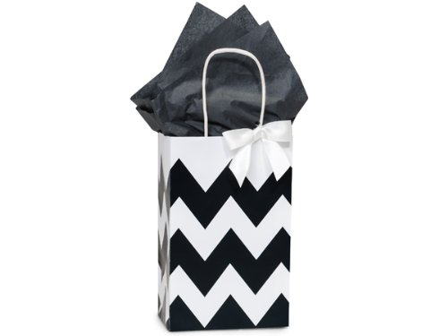 Black & White Chevron Small Shopper Gift Bags - Quantity Of 25 front-339987