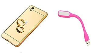 Novo Style Back Cover Case with Bumper Frame Case for Vivo Y51 Golden + Mini USB LED Light Adjust Angle / bendable Portable Flexible USB Light