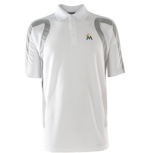 MLB Men's Miami Marlins Point Desert Dry Polo (White/Silver, X-Large) at Amazon.com