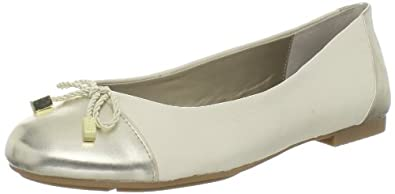 Tahari Women's Collins Dress Flat,Vanilla Cream/Gold Sun,5.5 M US