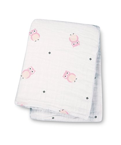 "Lulujo Baby Muslin Cotton Swaddling Blanket, Owl Always Love You/Pink, 47"" x 47"""