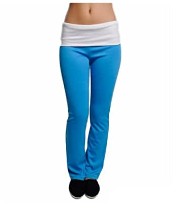 G2 Chic Women's Stretch Yoga Pant with Contrasting Band(ACT-PNT,BLU-S)