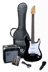 SX RST 3/4 BK Short Scale Black Guitar Package with Amp, Carry Bag and Instructional DVD