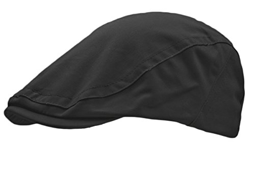 HAT TRICKS by PARIELLA TM MENS BRUSHED COTTON FLAT CAP-BLACK