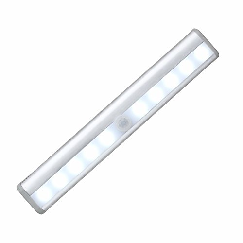 OXYLED T-02 Stick-on Anywhere Portable 10 LED Wireless Motion Sensing Light Bar with Magnetic Strip (Battery Operated) - Silver