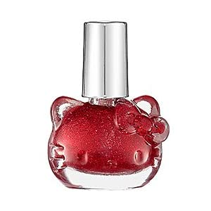 Hello Kitty Nail Polish Red Sparkle - Opaque Candy Apple Red With Medium Glitter NEW