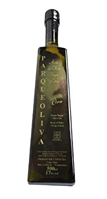 ParqueOliva Serie Oro- Award Winning Cold Pressed EVOO Extra Virgin Olive Oil, 2013-2014 Harvest, 17-Ounce Glass Bottle