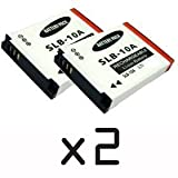 IZKA� - Twin Pack - 2x Samsung SLB-10A SLB10A, High Power Plus+ Life Time Warranty Replacement Lithium Li-on Digital Camera Battery for Samsung Digimax