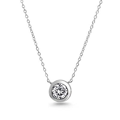 Bling Jewelry 925 Sterling Silver 2ct (8mm) Bezel-Set Round CZ Solitaire Pendant Necklace