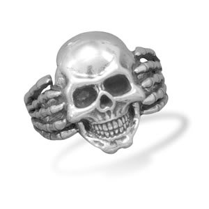 Sterling Silver Oxidized Skull Ring / Size 9
