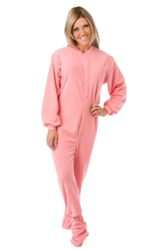 Big Feet Pjs Pink Micro-Polar Fleece Adult Footed Pajamas With Drop Seat (Xl) front-668366