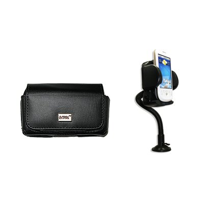 EMPIRE Black Leather Case Pouch with Belt Clip and Belt Loops + 360 Degree Rotatable Car Windshield Mount with Air Vent Attachment for Sprint Kyocera Brio (Sprint Loc compare prices)