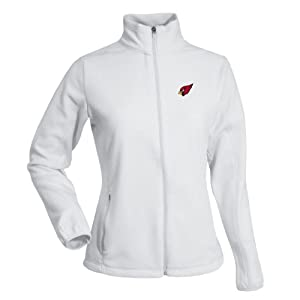 NFL Ladies Arizona Cardinals Sleet Micro Fleece Sweatshirt (White, Small) by Antigua