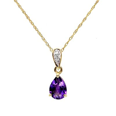 Ivy Gems 9ct Yellow Gold Amethyst and Diamond Tear Drop Pendant with 46cm Prince of Wales Chain