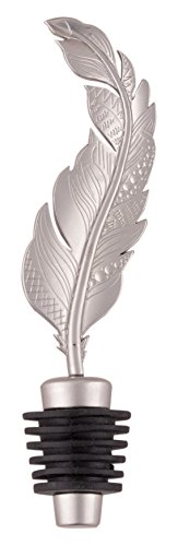 Weddingstar-Boho-Feather-Bottle-Stopper-Favor-Silver