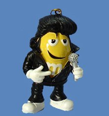 Yellow M&amp;M Iconic Elvis Presley Dressed in Black Christmas Ornament 3&quot;
