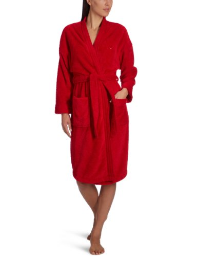 Tommy Hilfiger Damen Bademantel Bella Fluffy Bathrobe / 1487902286, Gr. 42 (XL), Rot (611 Tango Red)