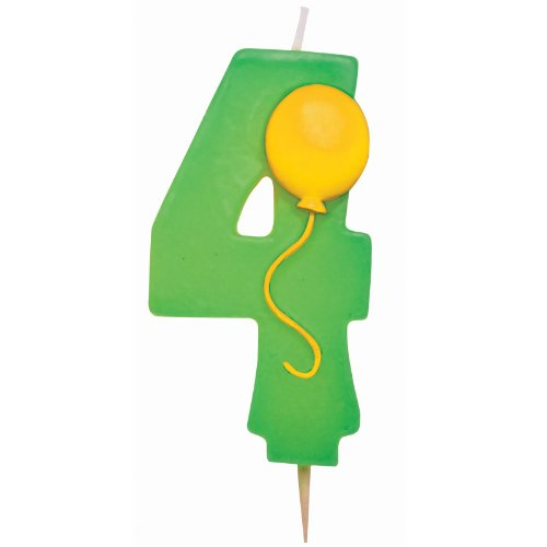 "Number ""4"" Pick Candle with Balloon Party Accessory - Green - 1"