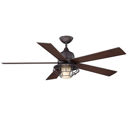 Savoy House 52-624-5Cn-13 Ceiling Fan With Cream Indian Scavo Shades, English Bronze Finish