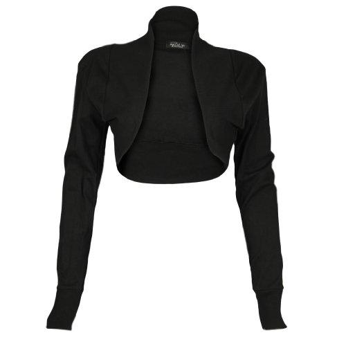 Donna Tinta Unita Vintage a maniche lunghe Bolero coprispalle Cardigan Top 8-14 Black M/L