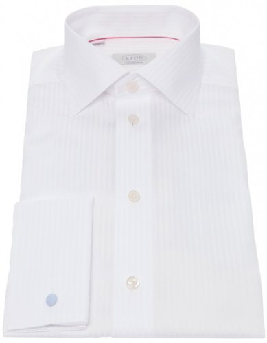 Eton Men's Shirt White Self Striped Formal UK 15