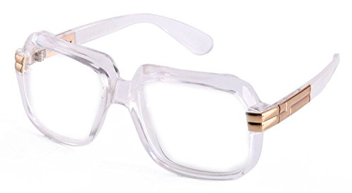 Classic Square Frame Plastic Clear Lens Aviator Glasses (Clear)