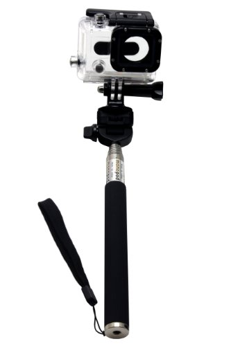 Telescopic Handheld Monopod Pole With Tripod Adapter For Gopro, Black