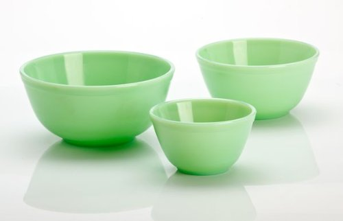 Mosser Glass 3 Piece Mixing Bowl Set in Jadeite Green Glass Serving Bowl