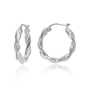 "Sterling Silver Tarnish-Free Twist Hoop Earrings (0.8"" Diameter)"