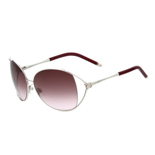 John Galliano Sunglasses Palladium Frame Gradient Burgundy Lens JG0029 18T