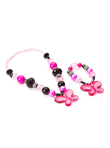 Little Adventures Hot Pink/black Butterfly Set Chunky Costume Jewelry