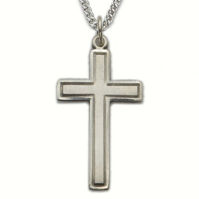 Sterling Silver Cross Necklace in a Engraved