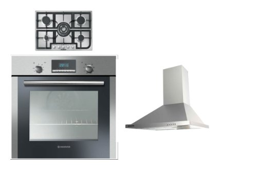 Hoover Built-in Multi Function Oven HOC709/6X, 5 Burner Gas Hob HGH75SQCX and HECH616X 60CM Stainless Steel Chimney Hood