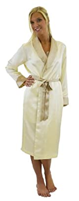 Silk Long Robe - Ivory/Taupe