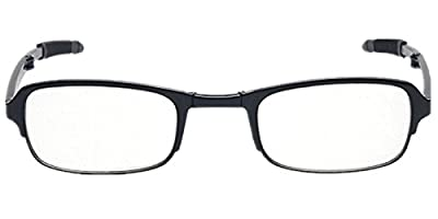 Slim Mini Black Flip Top Eyeglasses Stylish Folding Reading Glasses with Clip Holder Zipper Case +2.50