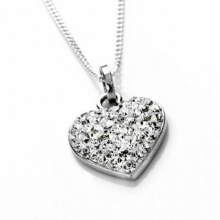Amore Bracciali Sterling Silver Swarovski Crystal Heart Necklace - 16