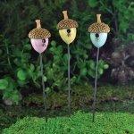 Fiddlehead fairy accessori per il giardino, casette per gli uccelli a forma di ghianda, confezione da 3