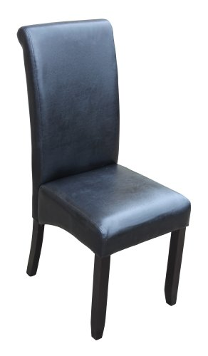 Set of 2 Black Scroll Back Faux Leather Dining Chairs with Dark Wood Legs